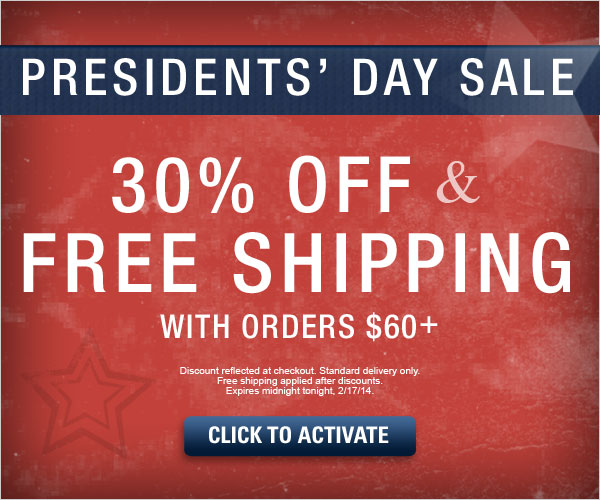 ENDS TONIGHT: 30% off and Free Standard Shipping on orders $60 or more