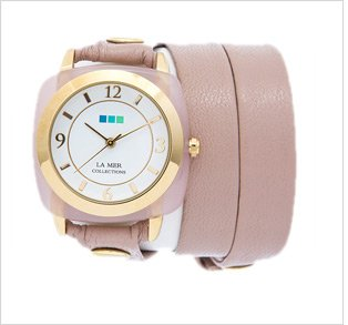 Rose Quartz Gold Acetate Stone Simple Wrap Watch