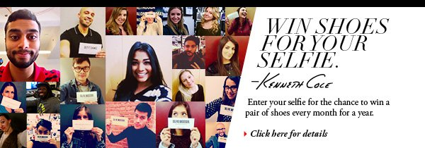 Enter your selfie for the chance to win a pair of shoes every month for a year. // Click here for details