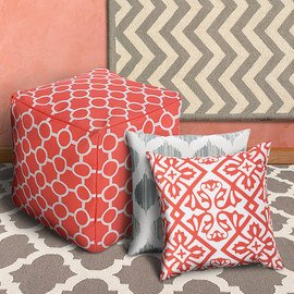 Room for Color: Coral & Gray Textiles