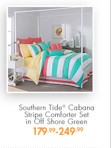 Southern Tide® Cabana Stripe Comforter Set in Off Shore Green  179.99 - 249.99