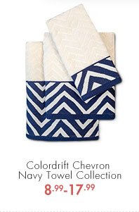 Colordrift Chevron Navy Towel Collection  8.99 - 17.99