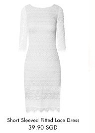EZRA Short Sleeved Fitted Lace Dress - 39.90 SGD