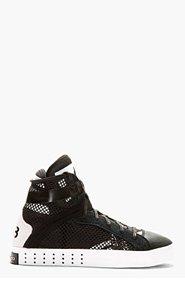 Y-3 Black Mesh Laver High-Top Sneakers for men