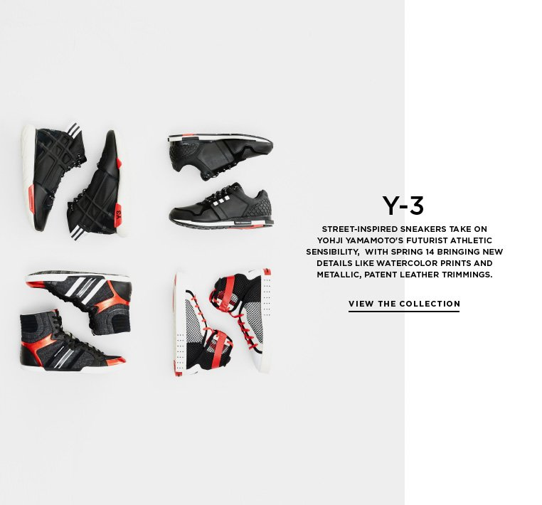 Futurist footwear from Y-3 Street-inspired sneakers take on Yohji Yamamoto's futurist athletic sensibility,  with Spring 14 bringing new details like watercolor prints and metallic, patent leather trimmings.