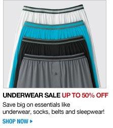 underwear sale - up to 50 percent off - save big on essentials like underwear, socks, belts and sleepwear! - shop now