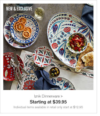 NEW & EXCLUSIVE - Iznik Dinnerware - Starting at $39.95 - Individual items available in retail only start at $12.95