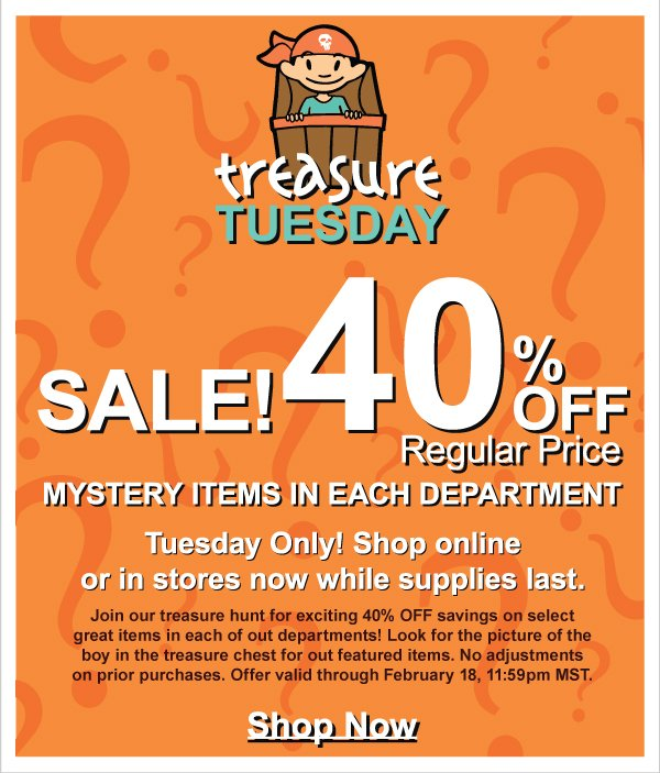 Treasure Tuesday! Huge 40% Off Savings on Selected NEW Springs 2 Fashions-Today Only +  Earn Kids Kash Coupon