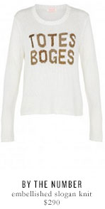 BY THE NUMBER embellished slogan knit - $290