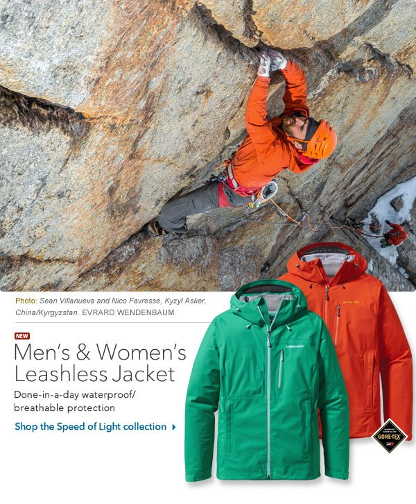 Men's and Women's Leashless Jacket: Gore-Tex® waterproof breathable protection