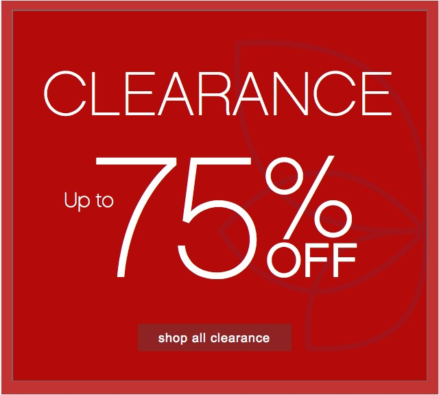 Clearance 75% off. Shop all clearance.
