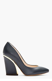 CHLOE Deep navy leather gold-trimmed Heels for women