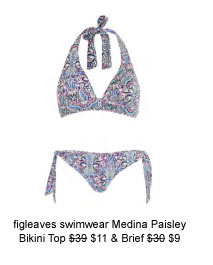 figleaves swimwear Medina Paisley Soft Cup Triangle Bikini Top was $39 now $11 & Brief was $30 now $9