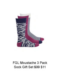 FGL Moustache Cotton 3 Pack Sock Gift Set was $39 now $11