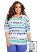 Zigzag Striped Hi-Lo Sweater