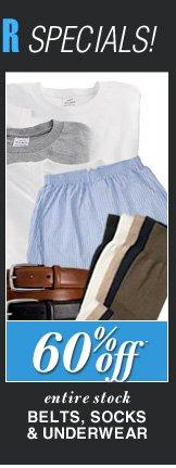 DOORBUSTER Belts, Socks & Underwear - 60% Off*