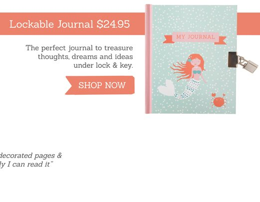 Lockable Journal. The perfect journal to treasure thoughts, dreams and ideas under lock & key. SHOP NOW >>