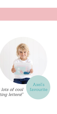 """Axel's favourite """"I like it because there's lots of cool things for writing letters!"""""""
