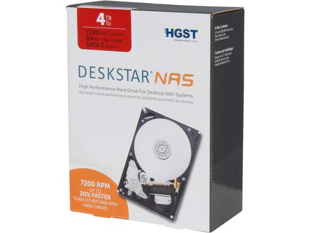 HGST Deskstar NAS H3IKNAS40003272SN(0S03664) 4TB 7200 RPM 64MB Cache SATA 6.0Gb/s 3.5