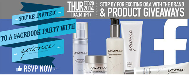 Epionce Product Giveaway facebook content