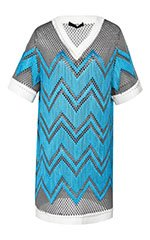 V-Neck T-Shirt Dress With Shoe Lace Embroidery