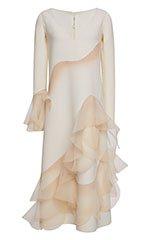 White Wool Crepe V-Neck Ruffle Dress