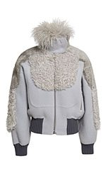 Pale Grey Bomber Jacket With Mixed Fur Detailing