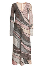 Sequin Wave Embroidered V-Neck Dress