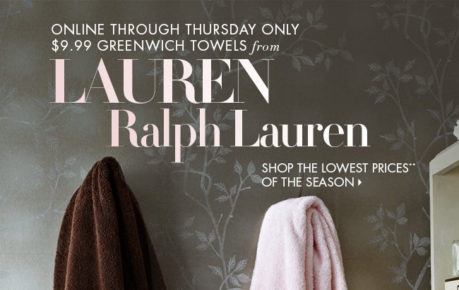 3 Days only: $9.99 Greenwich Towels