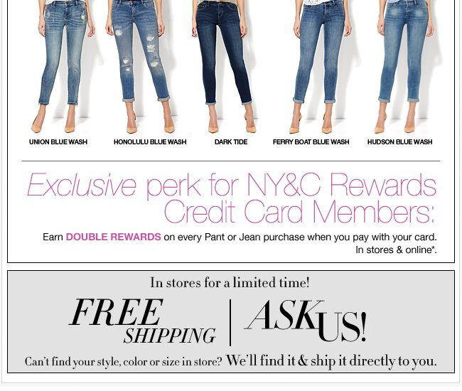 NY&C Rewards Credit Card Members Earn Double Points!