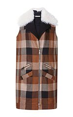 Plaid Wool Vest With Shearling Collar