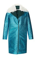 Teal Glitter Coat With Shearling Trim