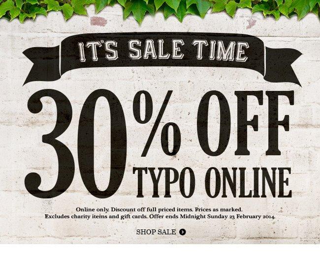 30% off Typo Online