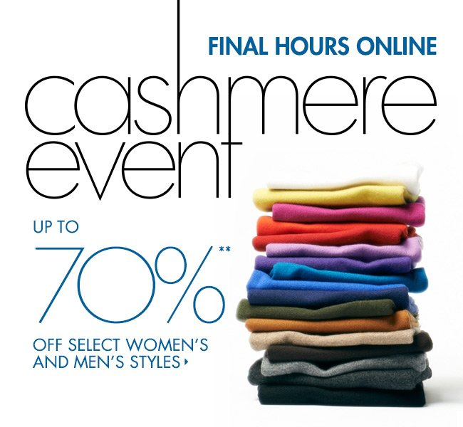 FINAL HOURS! Up to 70% off Cashmere