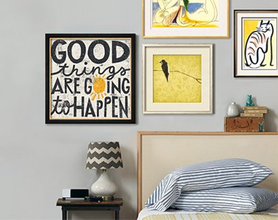 Good Things are Going to Happen By: Michael Mullan; Birds On Branch By: Grey Jace; Sur la Plage 1961 By: Pablo Picasso; Cat XIV By: Diana Ong