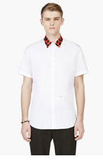 DSQUARED2 White Short Sleeve Accent Collar Button-Down Shirt for men