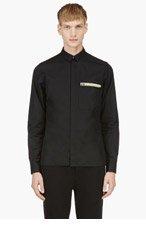 KRISVANASSCHE Black Zip-Pocket Long Sleeve Button Down Shirt for men