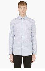 ANN DEMEULEMEESTER Blue & White Stripe Button Down Shirt for men