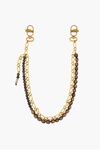DSQUARED2 Brass & Brown Wood Beaded Keychain for men
