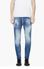 DSQUARED2 Blue Distressed & paint-splattered New Rider Jeans for men