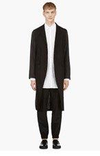 ANN DEMEULEMEESTER Black Extra Long Drawstring Tail Jacket for men