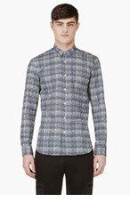 CALVIN KLEIN COLLECTION SSENSE Exclusive Blue and White Circle Print Shirt for men