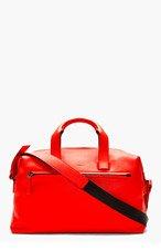 LANVIN Poppy Red Leather Duffle Bag for men