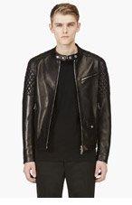 DSQUARED2 Black Quilted Lambskin Biker Jacket for men