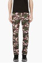 GIVENCHY Black Floral & Camo Print Jeans for men