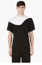 NEIL BARRETT Black & White Slub T-Shirt for men