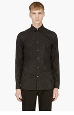 ANN DEMEULEMEESTER Black Micro Embroidered Button Down Shirt for men