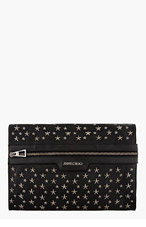 JIMMY CHOO Black Leather Start-Studded Stafford Pouch for men