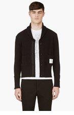THOM BROWNE Black Knit Shawl Collar Cardigan for men