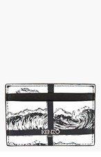 KENZO Black & White Wave Card Holder for men